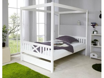 Himmelbett, 140x200 cm, FSC®-zertifiziert, weiß, Material Kiefer »Lino«, Ticaa