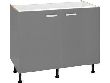 Spülenunterschrank  Breite 100 cm »Parma«, grau, Material Metall, OPTIFIT