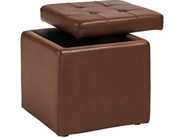 Home affaire Sitzwürfel, 1x 41x41 cm, braun, Material Kunstleder, unifarben