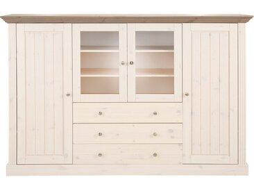 Home affaire Highboard, 186x46x123 cm, weiß, Material Kiefernholz »Skanderborg«