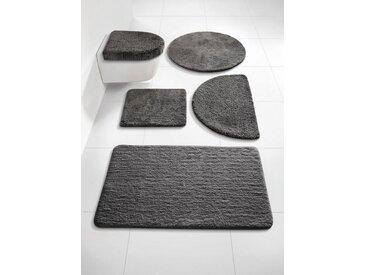 Badezimmer-Garnitur mit rutschhemmender Rückseite, grau, Material Polyester, heine home, rutschhemmend