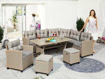 KONIFERA Lounge-Set »Keros Premium«, (20-tlg), Ecklounge, 2 Hocker, Sessel, Tisch, Polyrattan