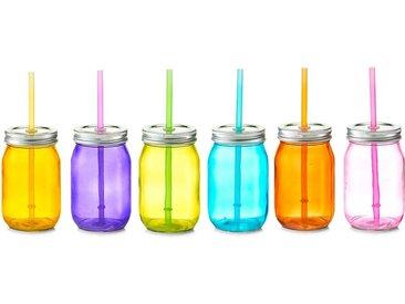 Zeller Present Gläser-Set »Color« (6-tlg), Mit Deckel und Strohhalm