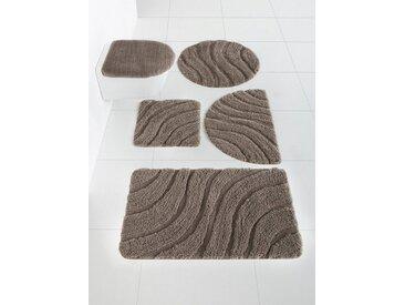 Badezimmer-Garnitur mit Hoch-Tief-Effekt, beige, Material Polyester, heine home