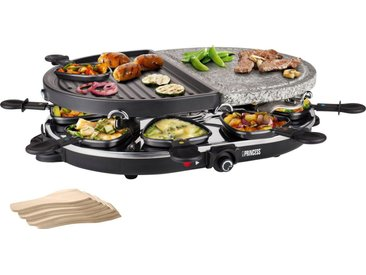 PRINCESS Raclette-Grill 8 Oval Stone & Grill Party - 162710, 8 Raclettepfännchen, 1200 W