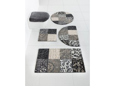 Badezimmer-Garnitur mit elegantem Muster, beige, Material Polyacryl, Grund