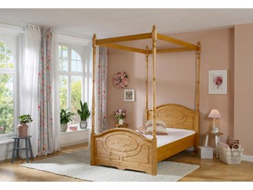 Holz-Bett »Mila«, 100x212x230 cm (BxLxH), Landhaus-Stil, Home affaire, beige, Material Massivholz, Kiefer
