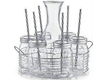 Zeller Present Gläser-Set (7-tlg), Mit Schraubdeckel und Strohhalmen