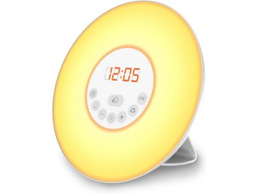 B.K.Licht LED Nachttischlampe, LED Lichtwecker Wake up Light Radiowecker Sonnenaufgangfunktion Kinderwecker