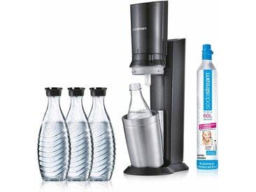 SodaStream Wassersprudler »CRYSTAL 2.0 titan«, (Set, 5-tlg., 1 Wassersprudler, 3 Glaskaraffe, 1 Zylinder)