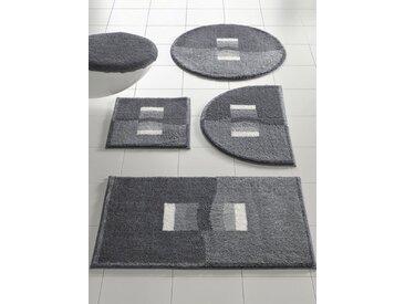 Badezimmer-Garnitur mit weichem Flor, grau, Material Polyacryl, Grund