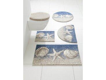 Badezimmer-Garnitur mit Strand-Motiv, beige, Material Polyacryl, Grund