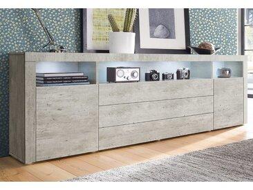 borchardt Möbel Sideboard, 200x35x72 cm, grau, Push to open-Funktion