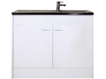 Spülenschrank inkl. Edelstahl-Auflagenspüle und Ab- und Überlaufgarnitur, Material Holzwerkstoff / Kunststoff, Yourhome