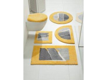 Badezimmer-Garnitur mit modernen Streifen, gelb, Material Polyacryl, Grund, Gemustert
