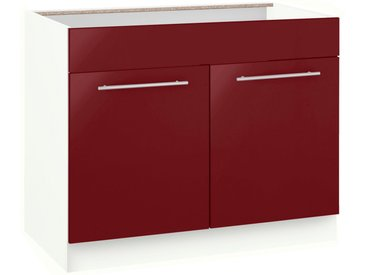 Spülenschrank »Flexi2«, 100x82x57 cm (BxHxT), wiho Küchen, rot, Material Holzwerkstoff, Metall, Melamin, MDF