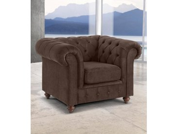 Sessel »Chesterfield«, 105x74x89 cm (BxHxT), Premium collection by Home affaire, braun, Material Massivholz, Holz, Polyester, Nylon