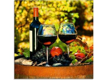 Glas-Bild  »Gläser Rotwein auf altem Fass«, grün, Material Glas, Artland, Motiv