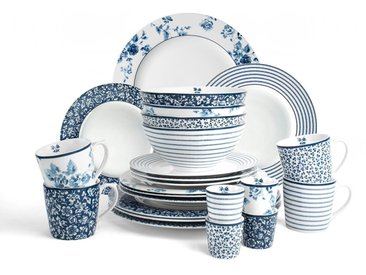 Geschirrset  »Mix Designs China Rose, Sweet Allysum, Floris und Candy Stripe.«, weiß, Material Porzellan, LAURA ASHLEY BLUEPRINT COLLECTABLES, Motiv, spülmaschinengeeignet