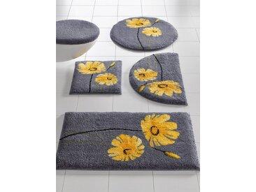 Badezimmer-Garnitur mit Blüten-Design, grau, Material Polyacryl, Grund