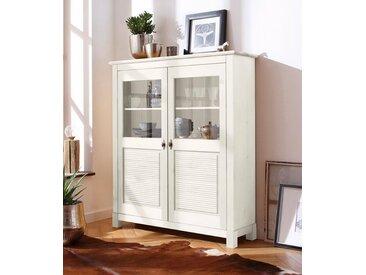 Home affaire Highboard, 120x37x140 cm, Landhaus-Stil, FSC®-zertifiziert, weiß, Material Massivholz »Rauna«