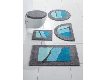 Badezimmer-Garnitur mit modernen Streifen, blau, Material Polyacryl, Grund, Gemustert