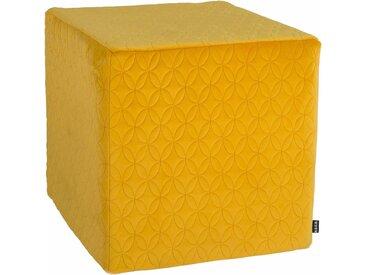 Sitzwürfel »Soft Nobile«, 1x 45x45 cm, gelb, H.O.C.K., bedruckt, schmutzabweisend, mit abnehmbarem Bezug