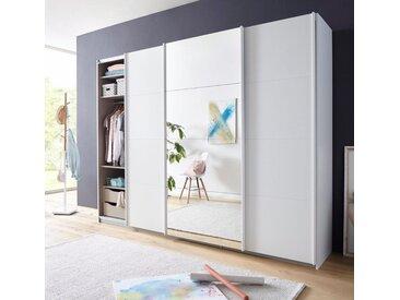 Schwebetüren-Schrank mit umfangreicher Innenausstattung, weiß, B x H x T, »Tubona«, rauch