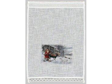 Scheiben-Gardine , beige, »Weihnachtsmann«, HOSSNER - ART OF HOME DECO