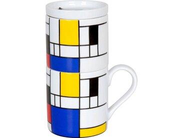 Könitz French Press Hommage-Small Fragments, 0,37l Kaffeekanne, Coffee for one, Porzellan