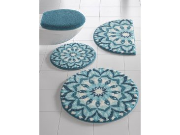 Badezimmer-Garnitur mit weichem Flor, blau, Material Polyacryl, Grund