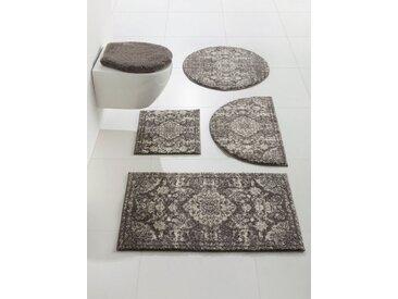 Badezimmer-Garnitur mit weichem Flor, weiß, Material Polyacryl, Grund