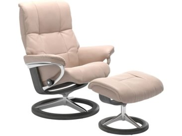 Stressless Ledersessel MAYFAIR M mit Hocker vanillabeige / Signature Gestell grau