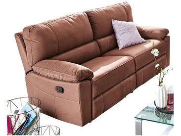 Sofa 3-Sitzer mit Reclinerfunktion Stoffbezug Braun