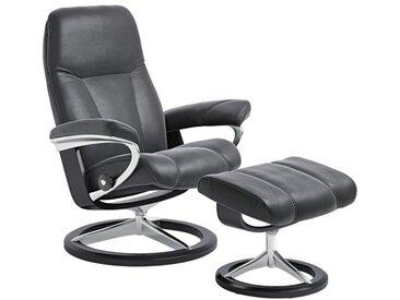 Stressless Sessel mit Hocker CONSUL M BATIK 2-teilig Lederbezug schwarz