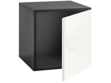 Now! by hülsta Box TO GO Schiefergrau/Hochglanz Lack Reinweiß ca. 38 x 38 x 39 cm