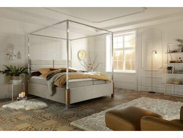 Gallery M | My Heaven | Himmelbett, Stoff D522 beige, B 160 bis 200, H 204, T 215 cm