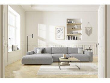 Gallery M | Lucia | Polsterecke, Ravello-Silver(PG6), B 376, H 81, SH 43, T 124/190, ST 81 cm