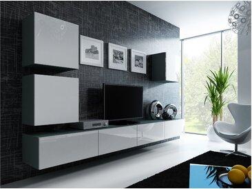 Stylefy Vago XXII Quadrat Wohnwand Grau Weiß