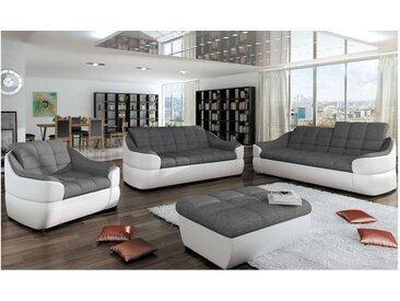 Stylefy INFINITY 3+2+1 Polstergarnitur Weiß Grau