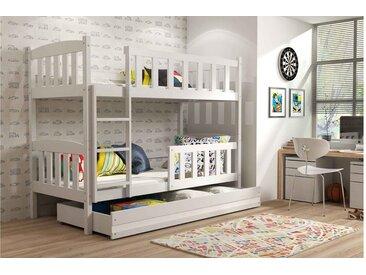 Stylefy Frank Etagenbett 90x200 cm Weiß Weiß