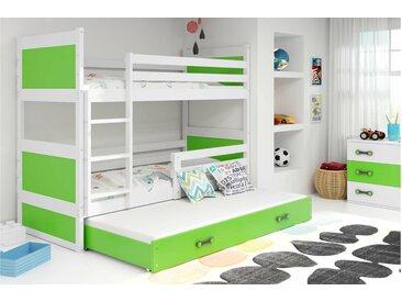 Stylefy Lora mit Extrabett Etagenbett 90x200 cm Weiß Grün