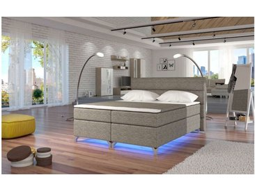 Stylefy Amadeo LED Boxspringbett 185x205x126 cm Grau