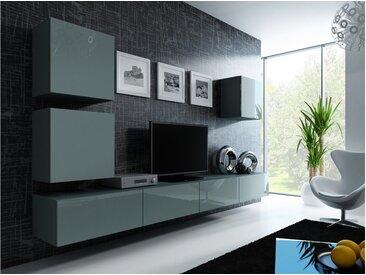 Stylefy Vago XXII Quadrat Wohnwand Grau