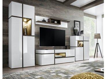 Stylefy Hamar Wohnwand Weiß Hochglanz | Weiß Matt Esche