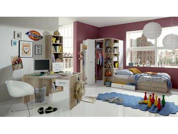 Stylefy Lio Kinderzimmer-Set X Sanremo Eiche Weiß 90x200 cm