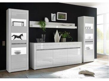 Stylefy Edelstein Wohnwand Weiß Matt | Weiß Hochglanz