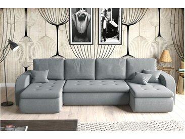 Stylefy Birmingham XL Wohnlandschaft Strukturstoff Grau