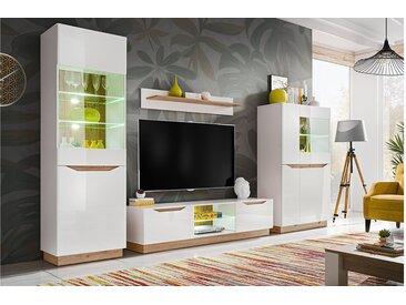 Stylefy Calgary Wohnwand Weiß   Weiß Hochglanz