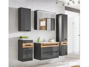 Stylefy Neboda Badezimmerset Grau   Grau Hochglanz